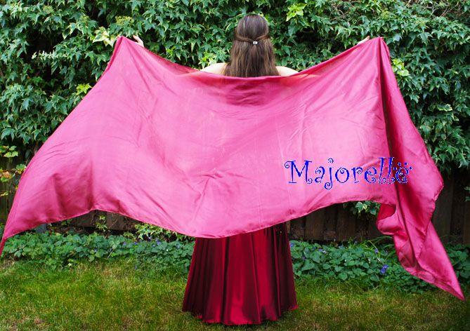 Silk belly dance veil bordeaux