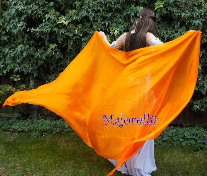 Silk belly dance veil orange