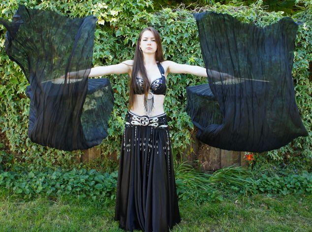 Fächerschleier / Fan-Schleier aus Seide in schwarz