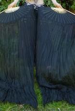 Silk belly dance fan veils black