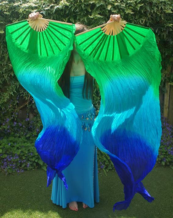 Fächerschleier aus Seide in grün-türkis-blau