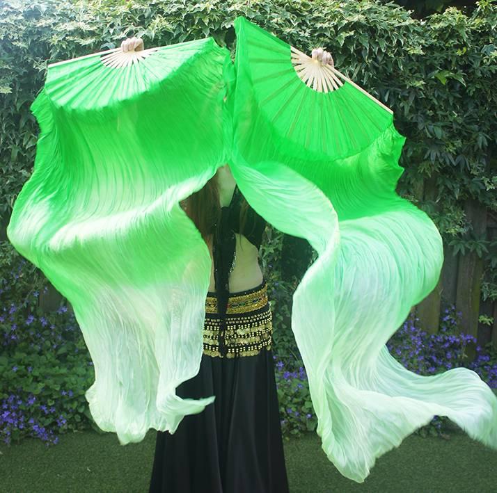 Silk belly dance fan veils green to white gradient