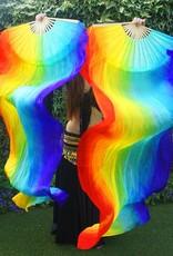 Silk belly dance fan veils in horizontal stripes
