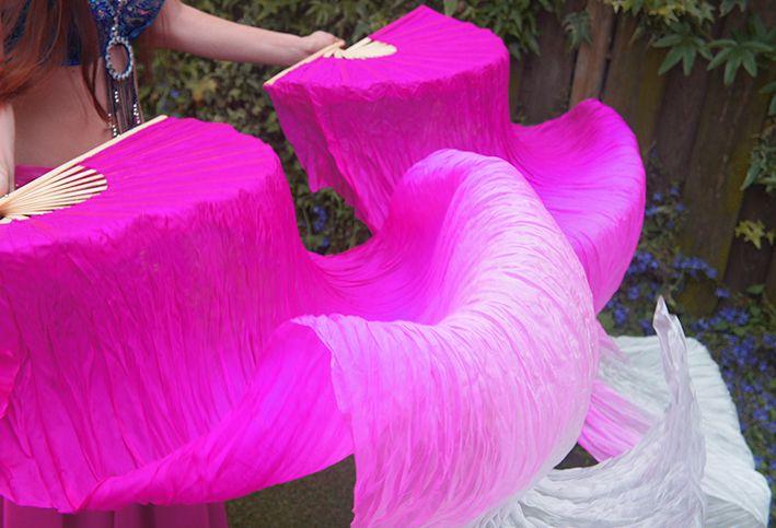 Silk belly dance fan veils fuchsia to white gradient