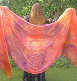 Silk belly dance veil tie dye copper