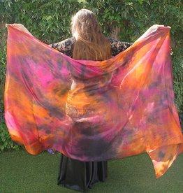 Silk belly dance veil tie dye copper fuchsia black