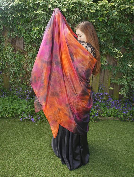 Silk belly dance veil tie dye copper fuchsia black