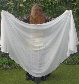Silk half round belly dance veil in white