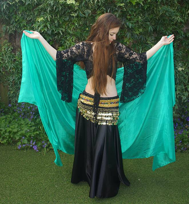 Silk belly dance veil peacock green