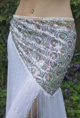 Hip scarf covered with small sequins in white