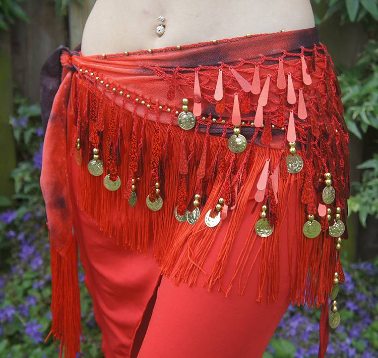 Red hip scarf with teardrop sequins