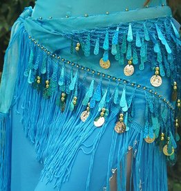 Hip scarf with teardrop sequins