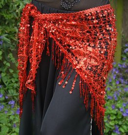 New; hip scarf red with sequins
