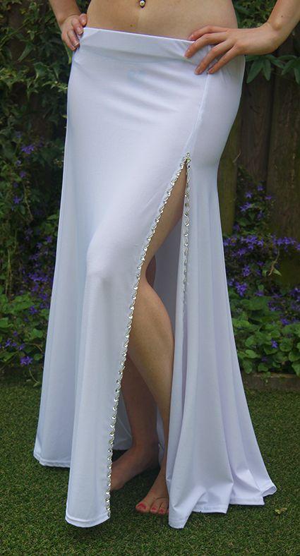 White skirt with silver split