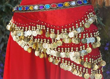 Belly dance hip scarfs with coins