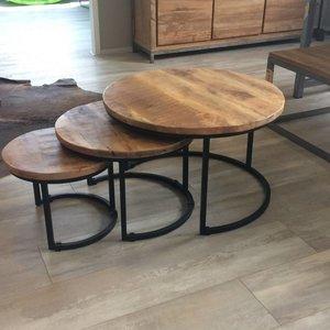 Industriële tafelset 3 stuks - zwart