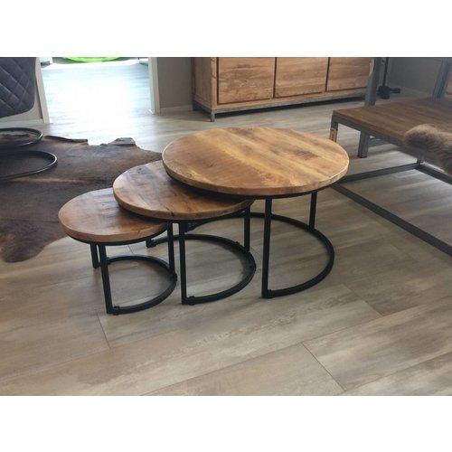 Industriële tafelset mangohout 3 stuks - zwart frame