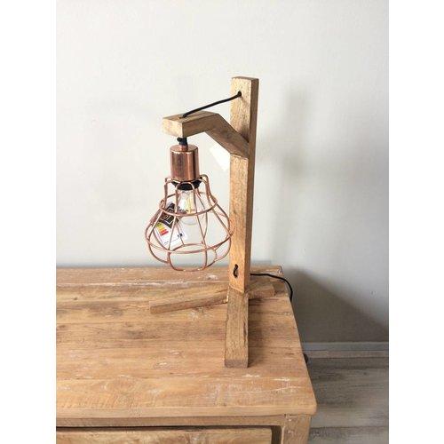 Tafellamp Copper & Wood
