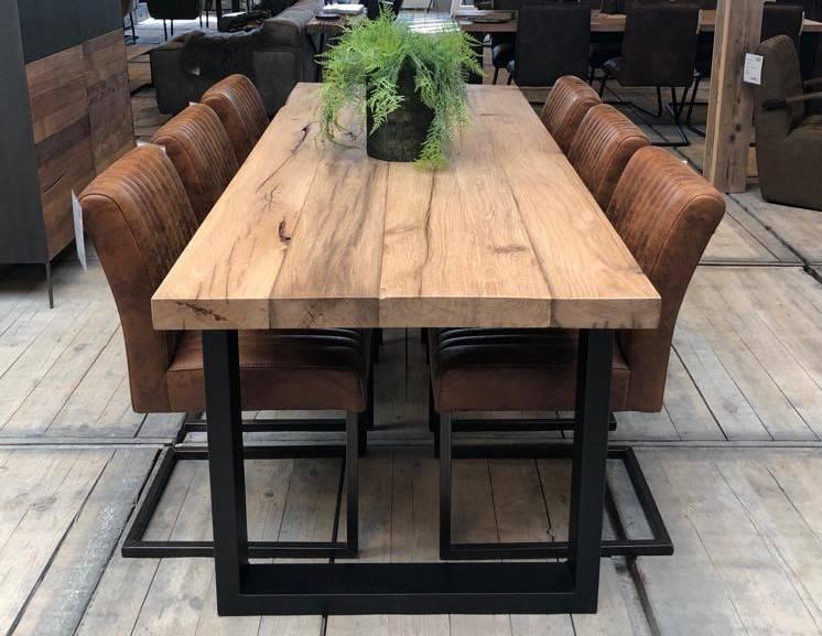 Oud massief eiken tafel cm firma hout staal
