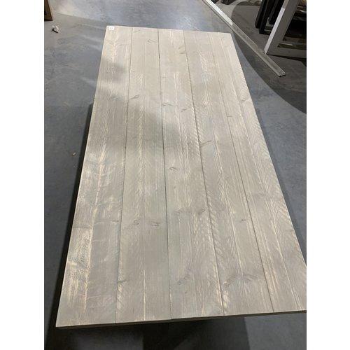 Eettafel U-frame 200 x 98 cm old look steigerhout grey wash 25