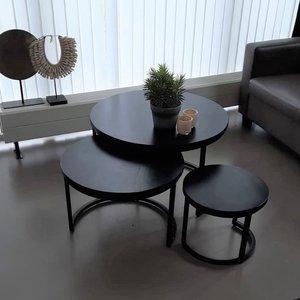 Industriële tafelset 3 stuks - zwart blad + frame