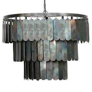 Stoere hanglamp met metalen lamellen  L