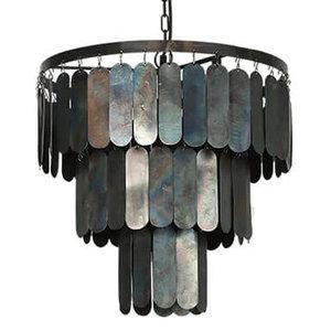 Stoere hanglamp met metalen lamellen  M