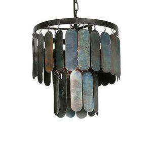 Stoere hanglamp met metalen lamellen  S