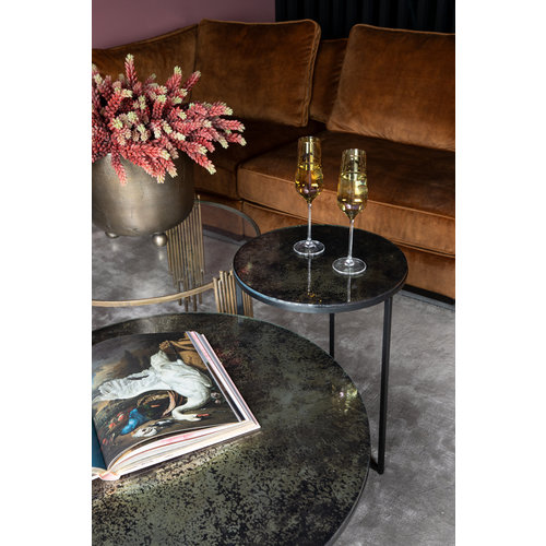 Logan Grey glass blended iron base side table S KD