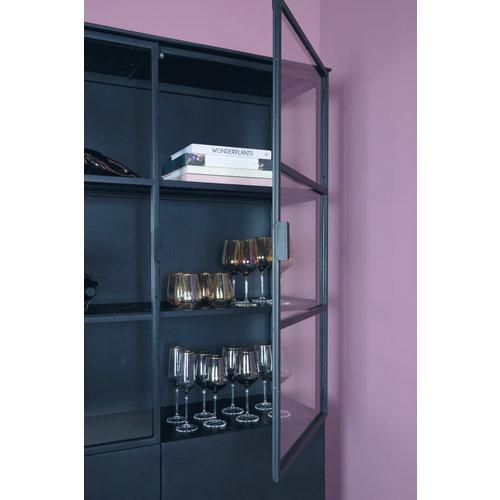 PTMD Elina Glass cabinet black iron frame 2 doors