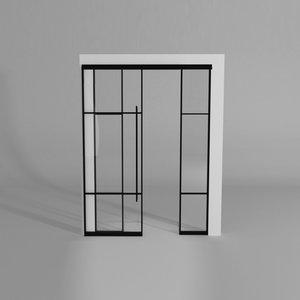 Maatwerk enkele schuifdeur met 2 smalle panelen