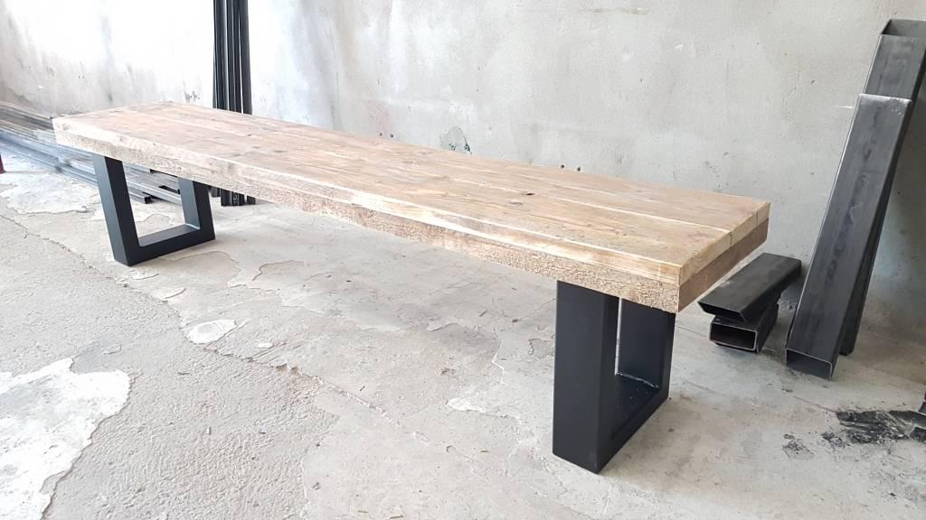 bankje u-frame. - firma hout & staal