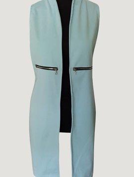 Sleeveless long gillet (Blue)