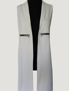 Sleeveless long gillet (White)