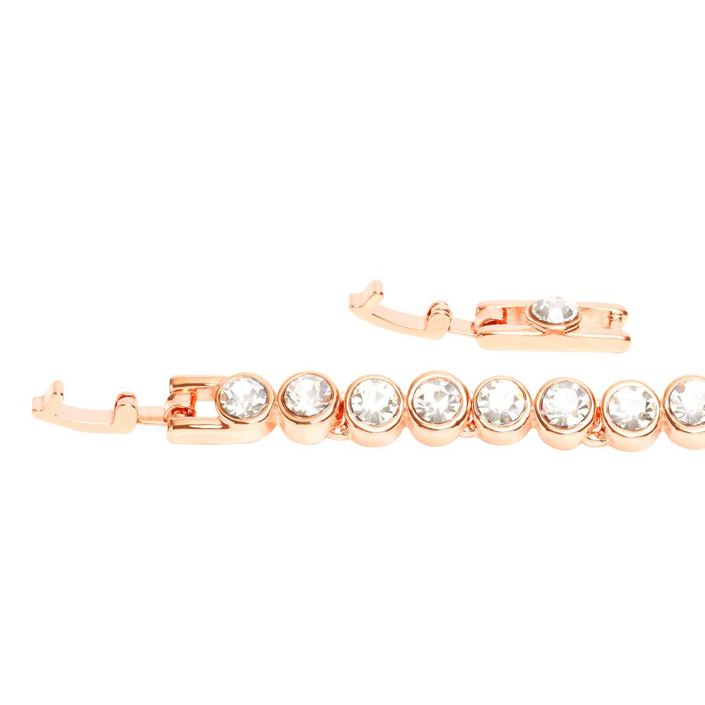 Stella-Bijou Tennisarmband, Roségold vergoldet, weiß