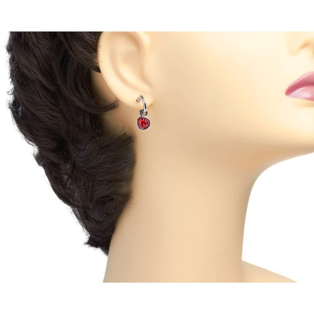 Tennis Ohrringe, rot - Weißgold vergoldet