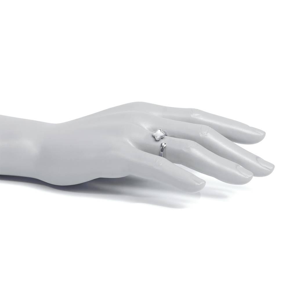 Ring Klee sparkle Weißgold - schwarz oder weiß