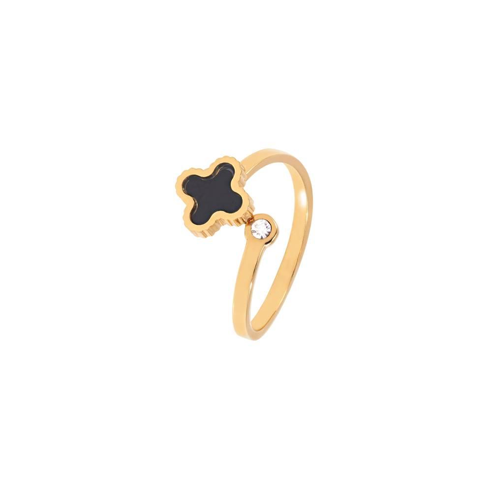 Ring Klee sparkle Gold - schwarz