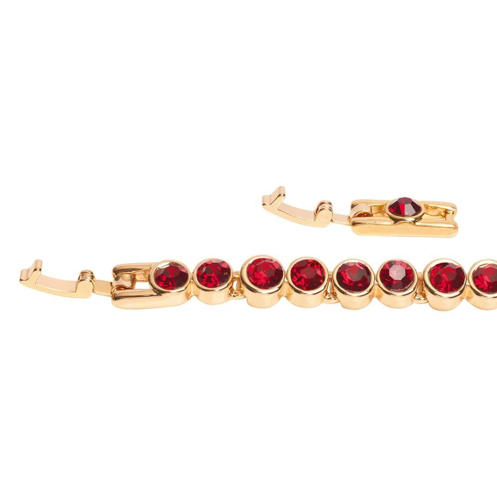 Stella-Bijou Tennisarmband, rot - Gelbgold vergoldet