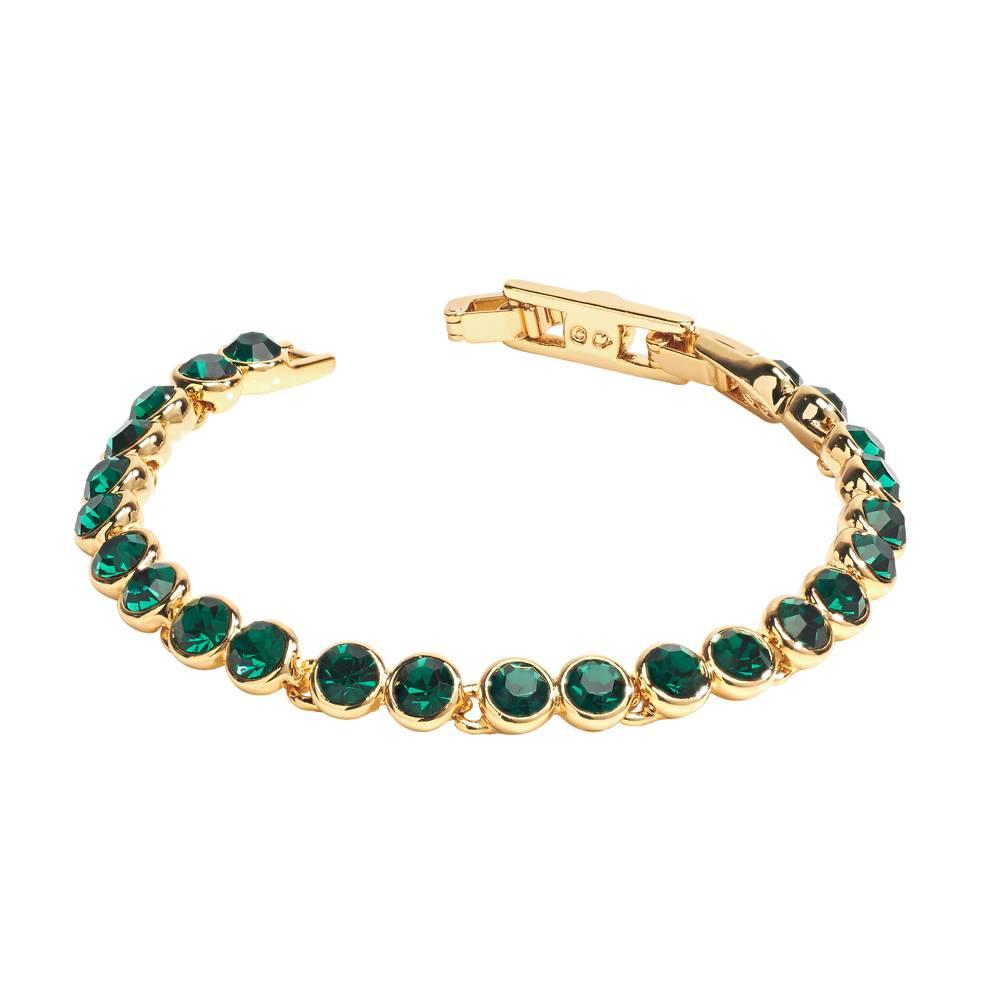 Stella-Bijou Tennisarmband, dunkelgrün - Gelbgold vergoldet
