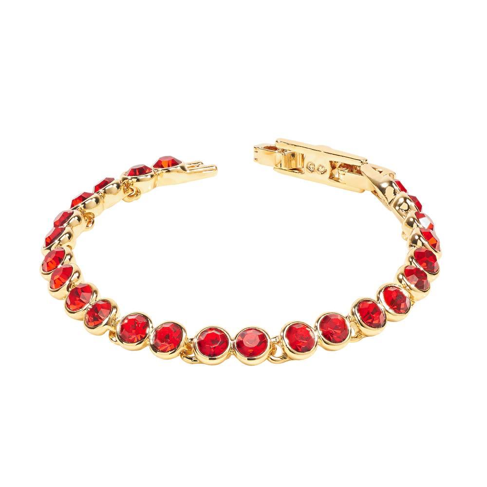 Stella-Bijou Tennisarmband, hellrot - Gelbgold vergoldet