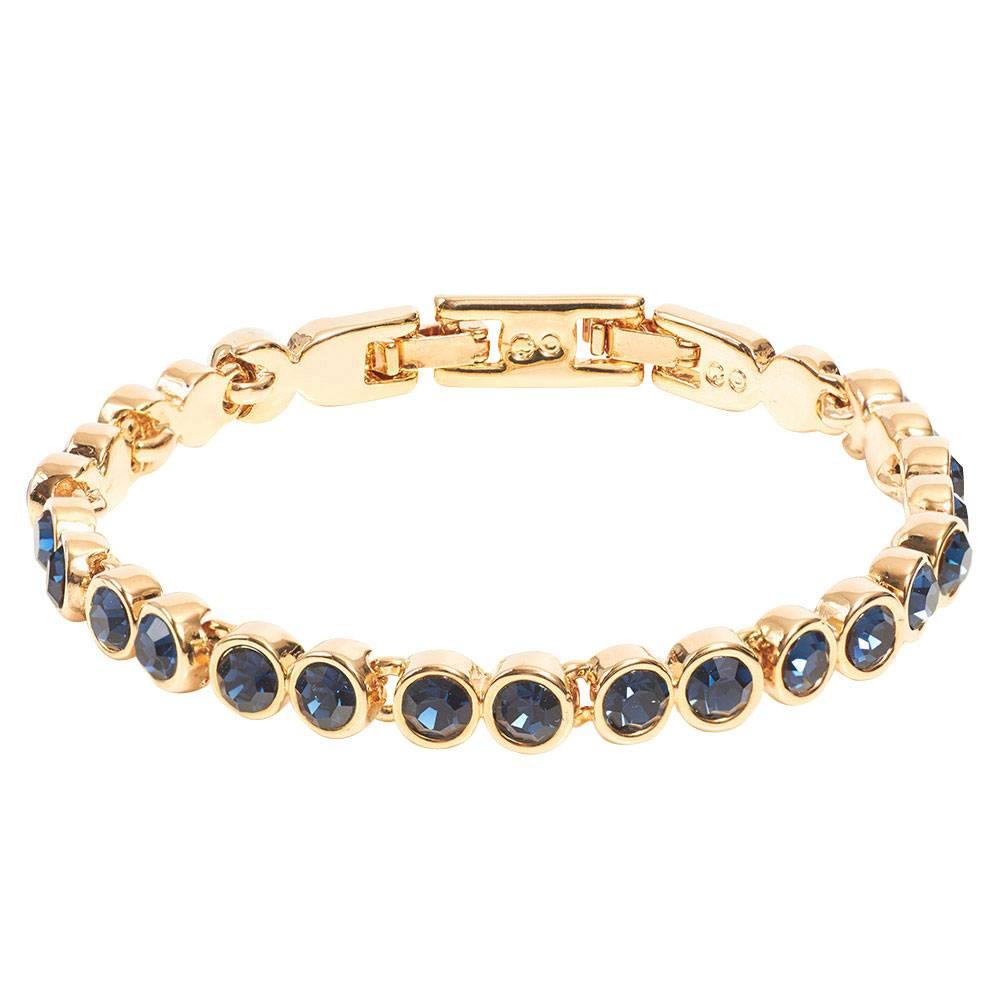 Tennisarmband, dunkelblau - Gelbgold vergoldet