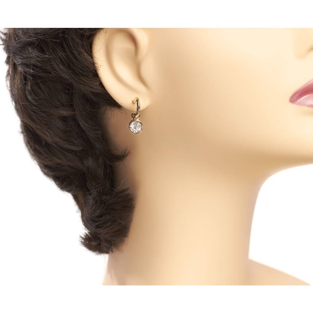 Tennis Ohrringe, weiß - Gelbgold vergoldet