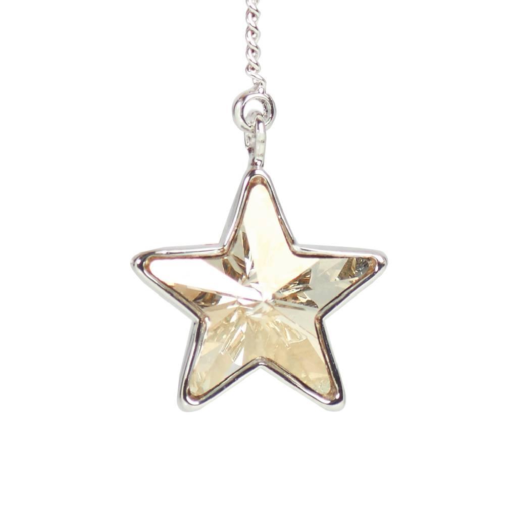 Ohrring Long Star, silvershade - Weißgold vergoldet