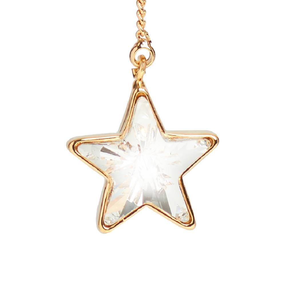 Ohrring Long Star, weiß - Gelbgold vergoldet