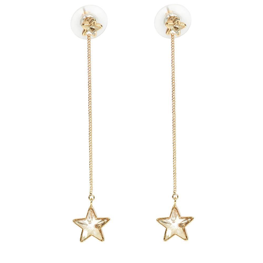 Ohrring Long Star, silvershade - Gelbgold vergoldet