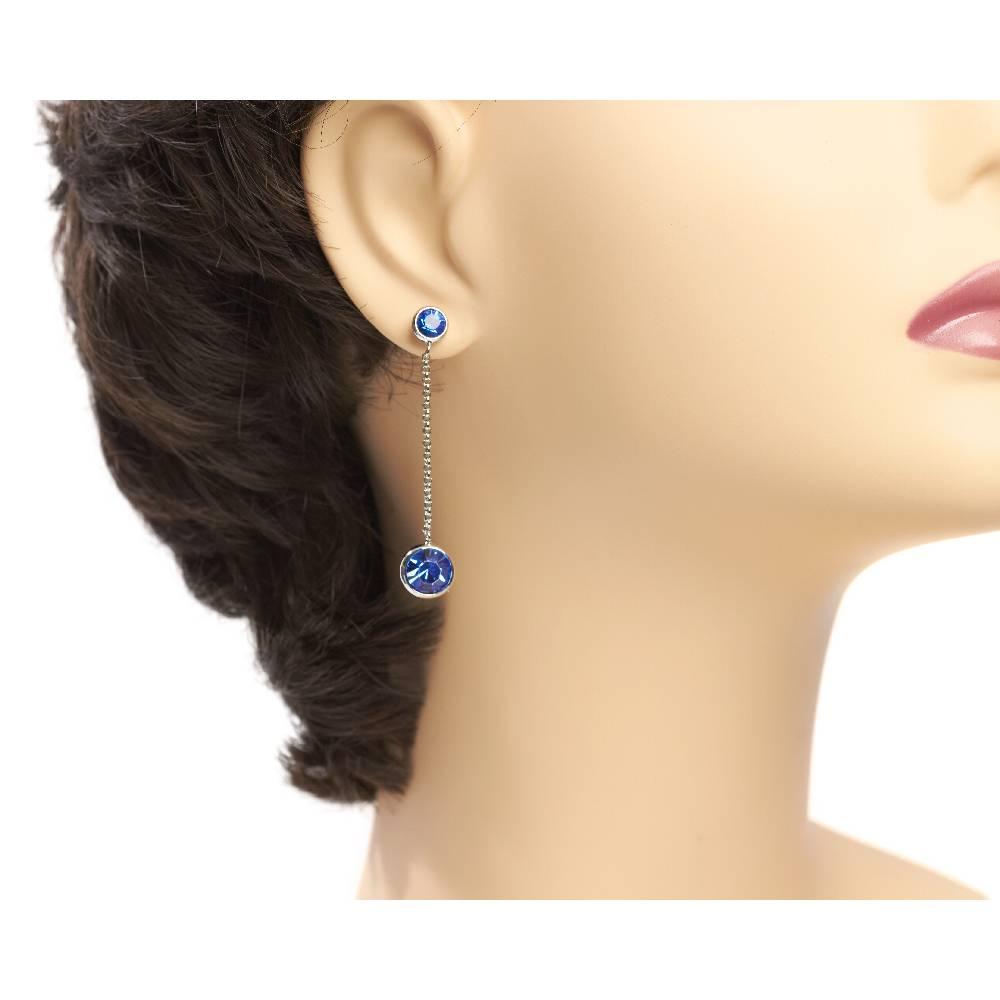 Ohrringe Thunderball, Sapphire blau - Weißgold vergoldet