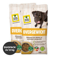 Overgewicht hondenbrokken 2x12 kg (duopack)