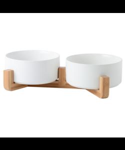 design keramische voerbak wit