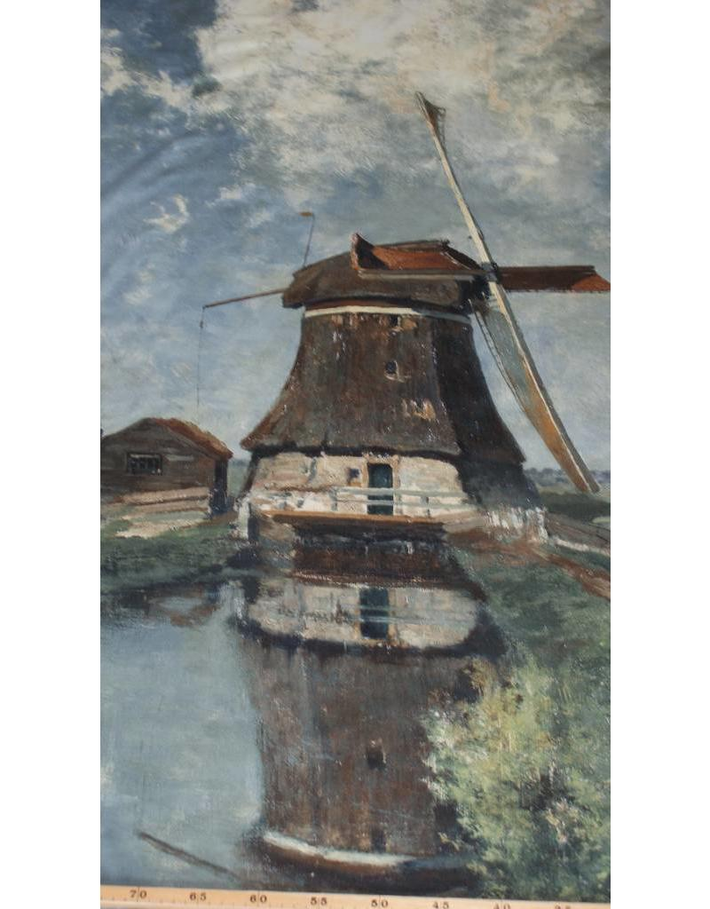 Cotton Inkjet 508 - In the month of July. A mill on a polder canal, Constant Gabriel
